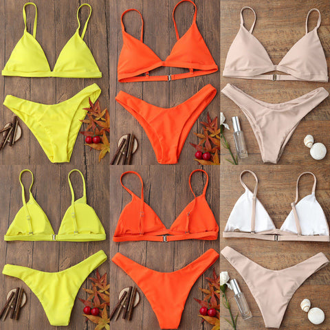 Womens Padded Push-up Triangle Bikini Set Swimsuit Bathing Swimwear Beachwear