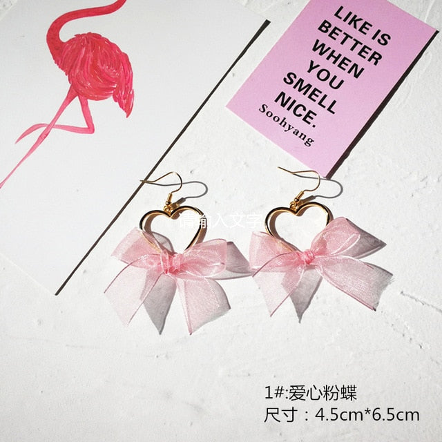 Tassel Harajuku Girl Heart Pink Love Bow Stud Earrings
