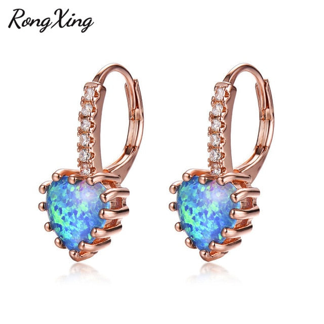 Opal Mini Hoops (Heart Shape)