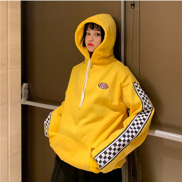 Yellow Checkered Sleeve Hoodie