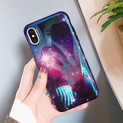 Fashion Blu-Ray Laser Dazzling Purple Sky Stars Phone Cases