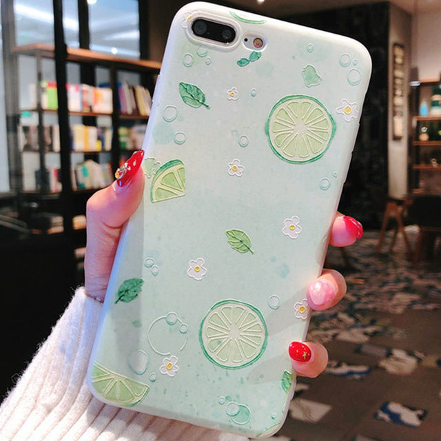 Luxury Painting Lemon Fruit Flower Lovely Soft TPU Phone Case