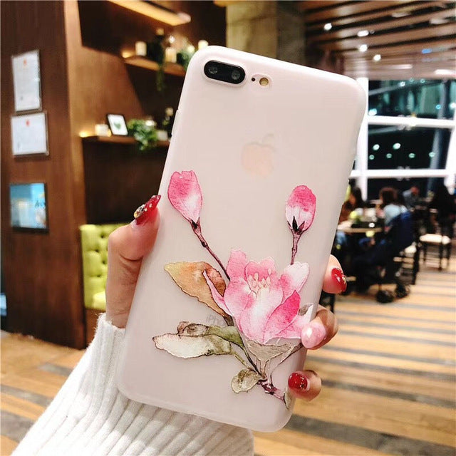 competitive price 7db30 68030 3D Retro orchid Relief Lotus Flower Phone Case