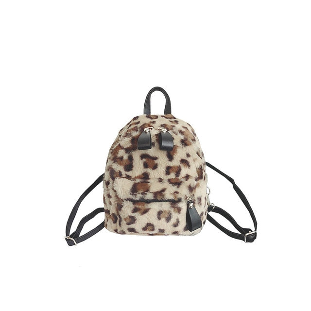 Mini Fuzzy Leopard Backpack