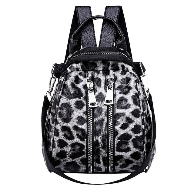 Double Zipper Leopard Print Backpack