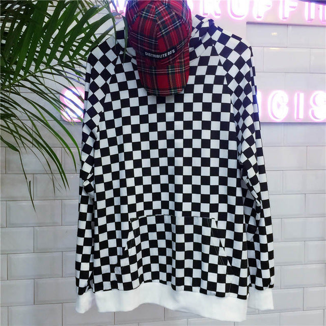 Checkered Hoodie Korean Style