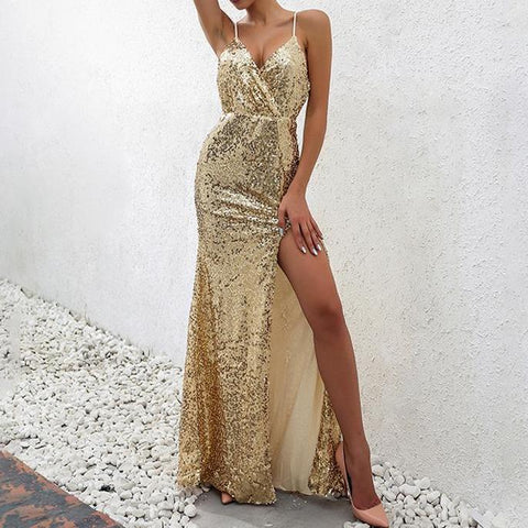 You're Gold Baby Sequin Maxi Dress