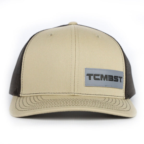 TCMBST Leather Patch Trucker Hat - QuickSand