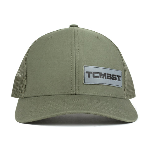 TCMBST Leather Patch Trucker Hat - Solid Military Green