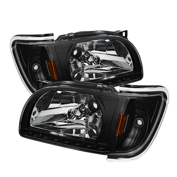 01-04 1 Piece with Chrome Trim Corner Crystal Headlights