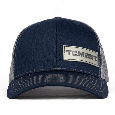 TCMBST Leather Patch Trucker Hat - Navy