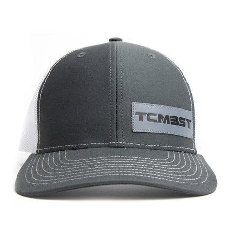 TCMBST Leather Patch Trucker Hat - Charcoal/White