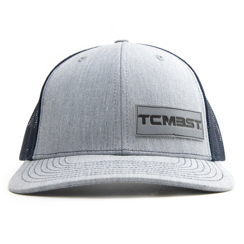TCMBST Leather Patch Trucker Hat - Heather Grey/Navy