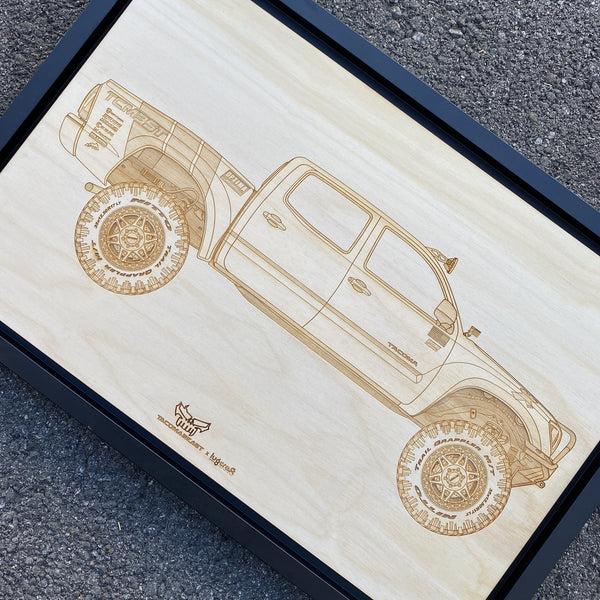 TacomaBeast Framed Wood Engraved Artwork