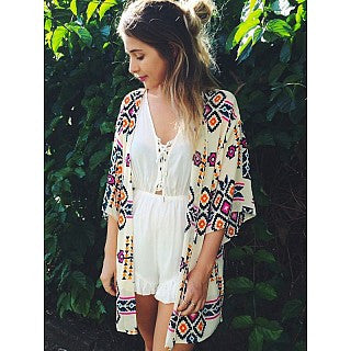EXCLUSIVE BOX ADD-ON Aztec Print Kimono Cover Up