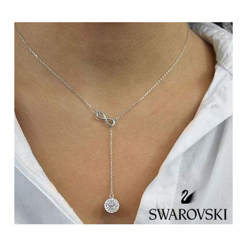 Swarovski Crystal Sterling Silver Infinity Y Necklace - SHIPS FREE!