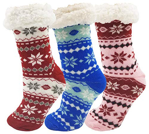 2 Pairs of Fluffy Thermal Ultra Soft Sherpa Socks With Non Skid Grippers - SHIPS FREE!