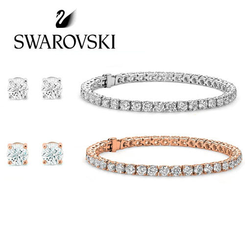 Swarovski Crystals Tennis Bracelet and Stud Earrings! SHIPS FREE!