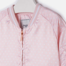 Mini Pink Satin Polkadot Bomber Jacket