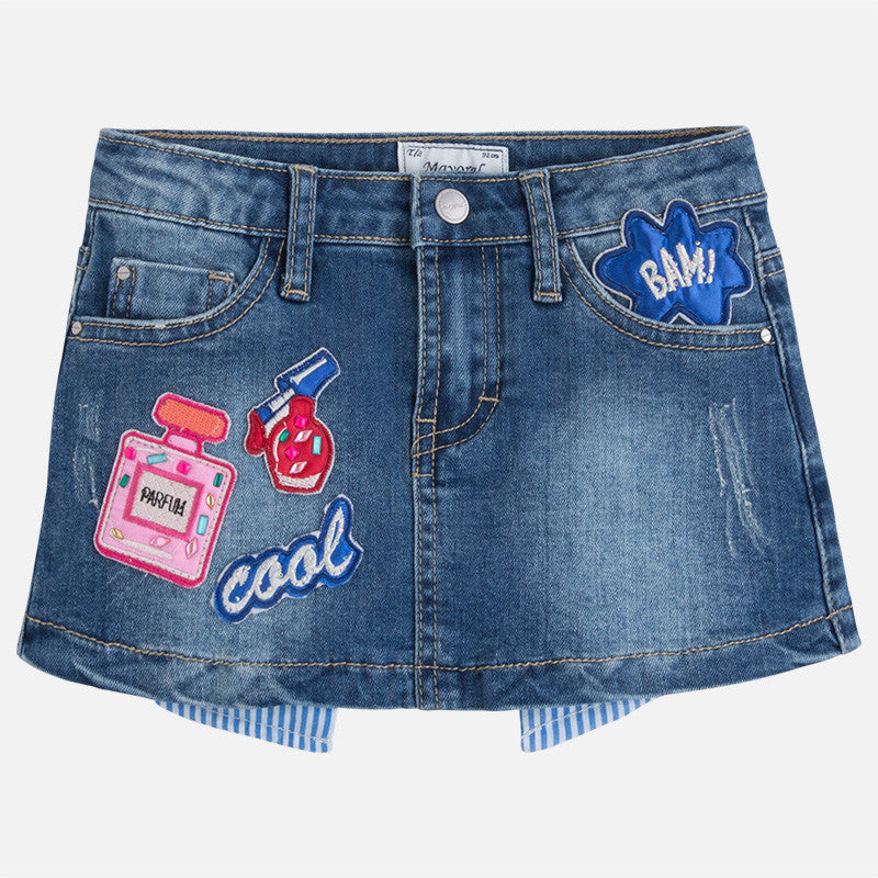 Mini Denim Skirt with Patches