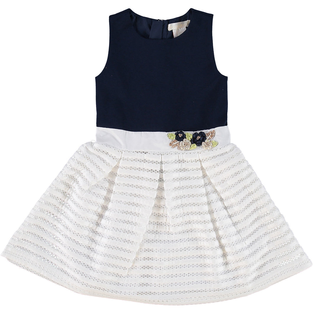 Mini Navy & White Skater Dress