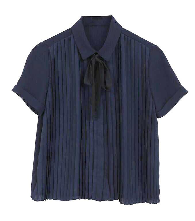 Navy Pleated Blouse by FRNCH