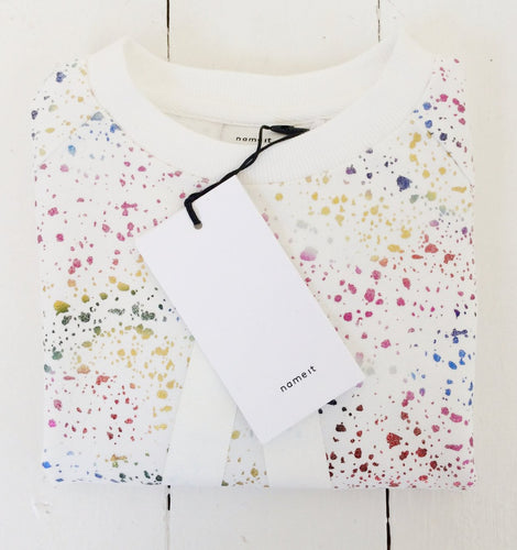Mini White Awesome Logo Disco Sweater
