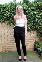 White & Black Slim Leg Plunge Jumpsuit by AX Paris