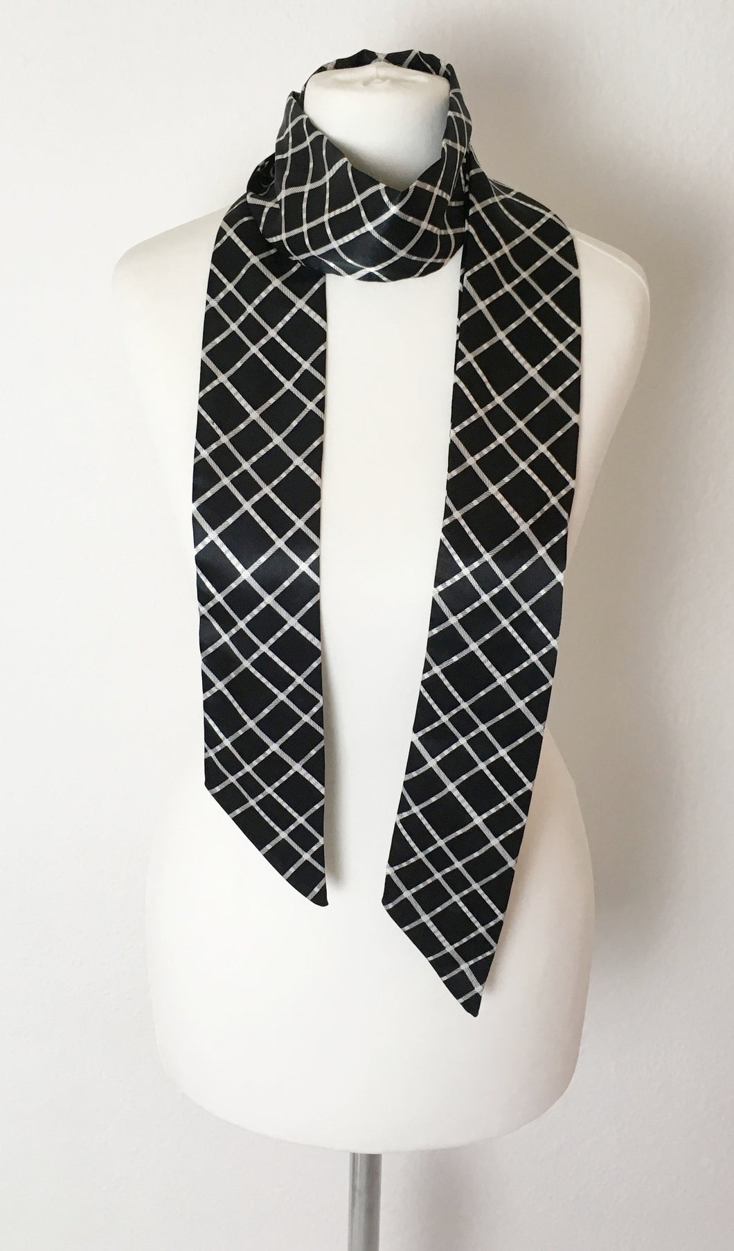 Black Silky Checked Skinny Scarf