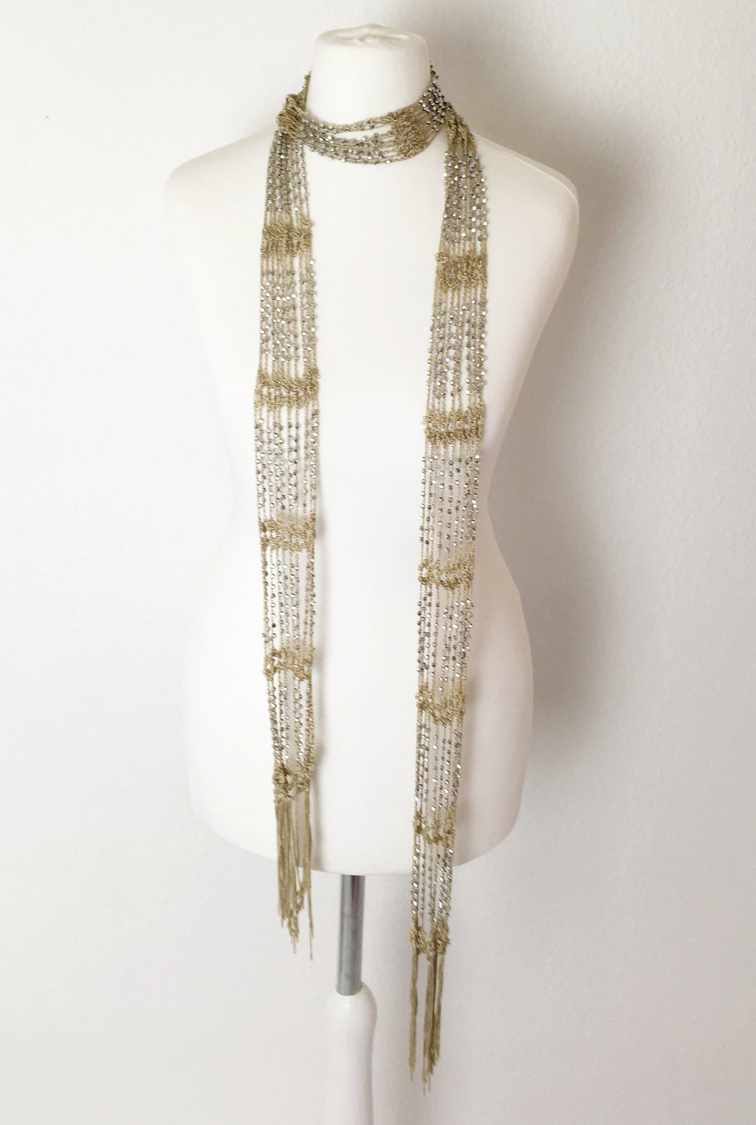 Silver Beaded Skinny Scarf