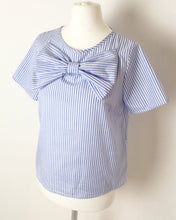 Striped Blue & White Bow Top