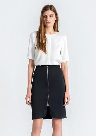 Pencil Skirt with Front Zip Detail by FRNCH