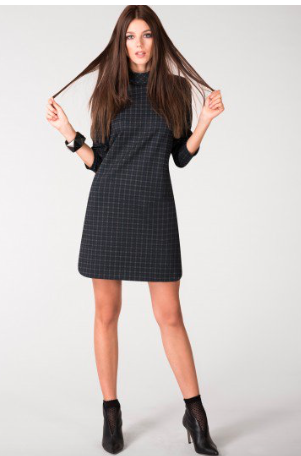 Navy Check A-Line Dress by CLOSET