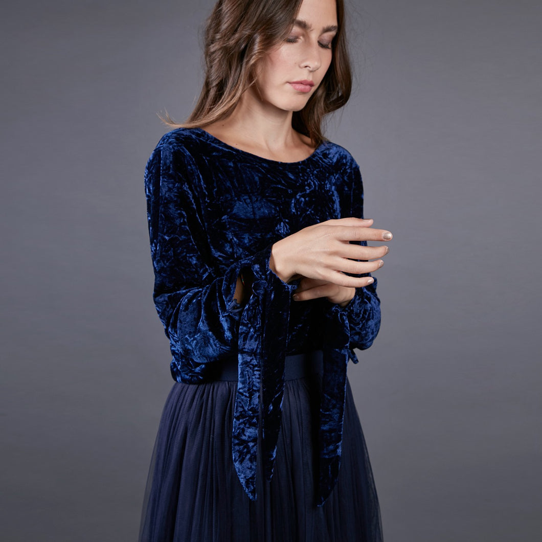 Crushed Blue Velvet Long Sleeve Top