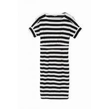 White & Black Striped T-shirt Dress