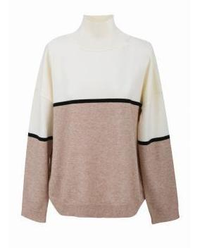 Cream and Brown Soft Knitted Jumper
