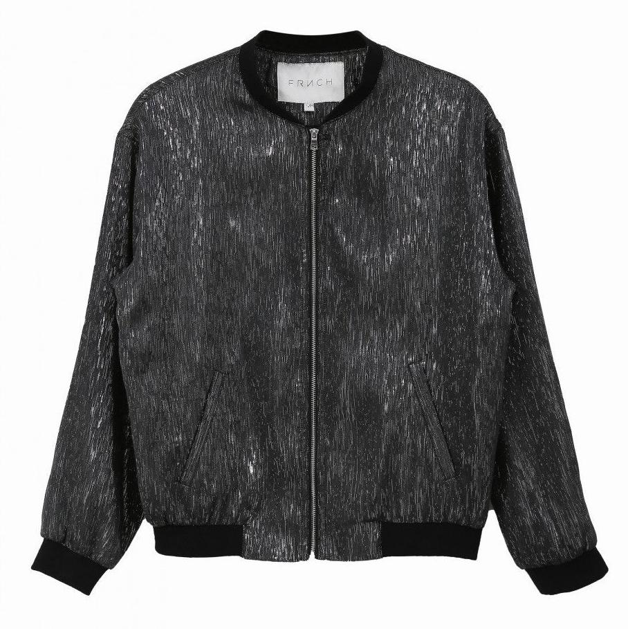 Metallic Grey Bomber Jacket by FRNCH