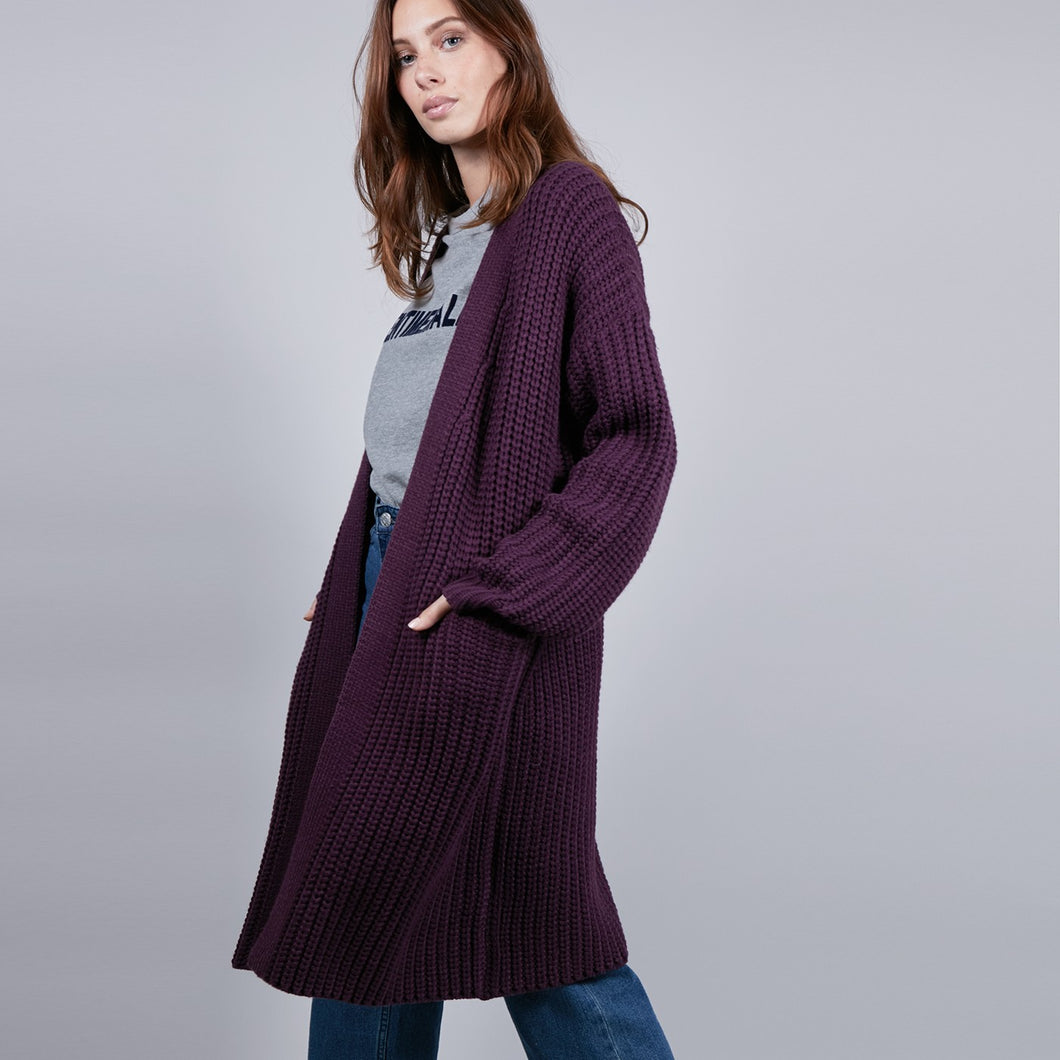 Purple Wool Cardigan Jacket