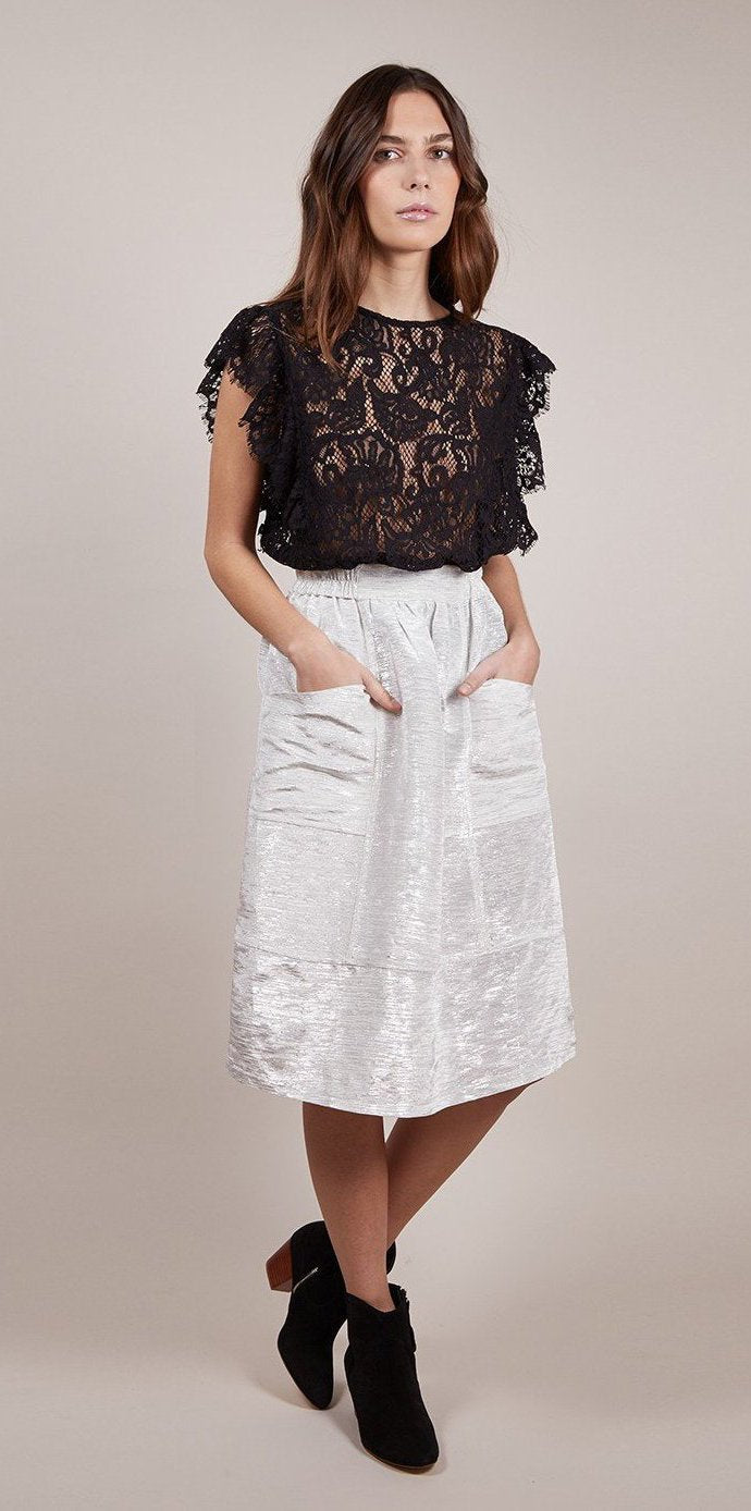 Metallic White Midi Skirt by FRNCH