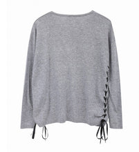 Grey Knitted Jumper with Ribbons