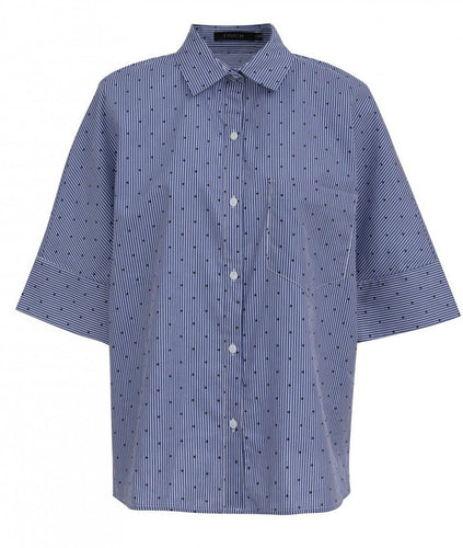 Blue Polkadot Striped Shirt