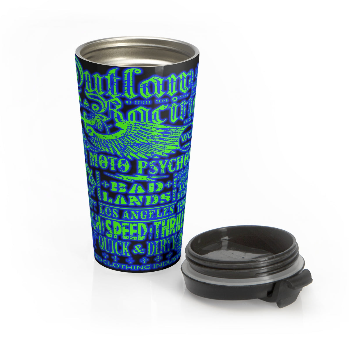 Outlaw Racing/ Blue/Green/Stainless Steel Travel Mug