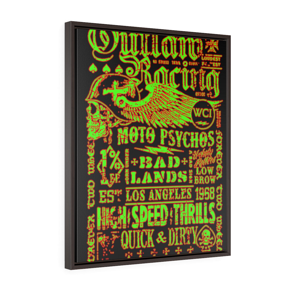 Outlaw Racing/Green/Red/Vertical Framed Wrap Canvas