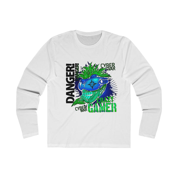 Crazy Gamer Neon Green / Blue Men's Long Sleeve Crew Tee