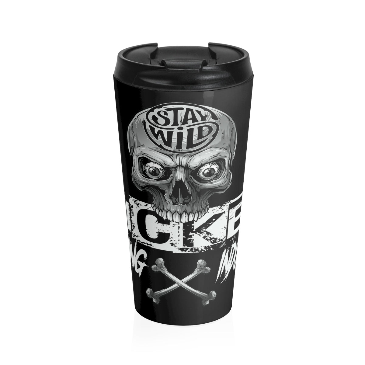 Stay Wild 4/ Black N White/ Stainless Steel Travel Mug