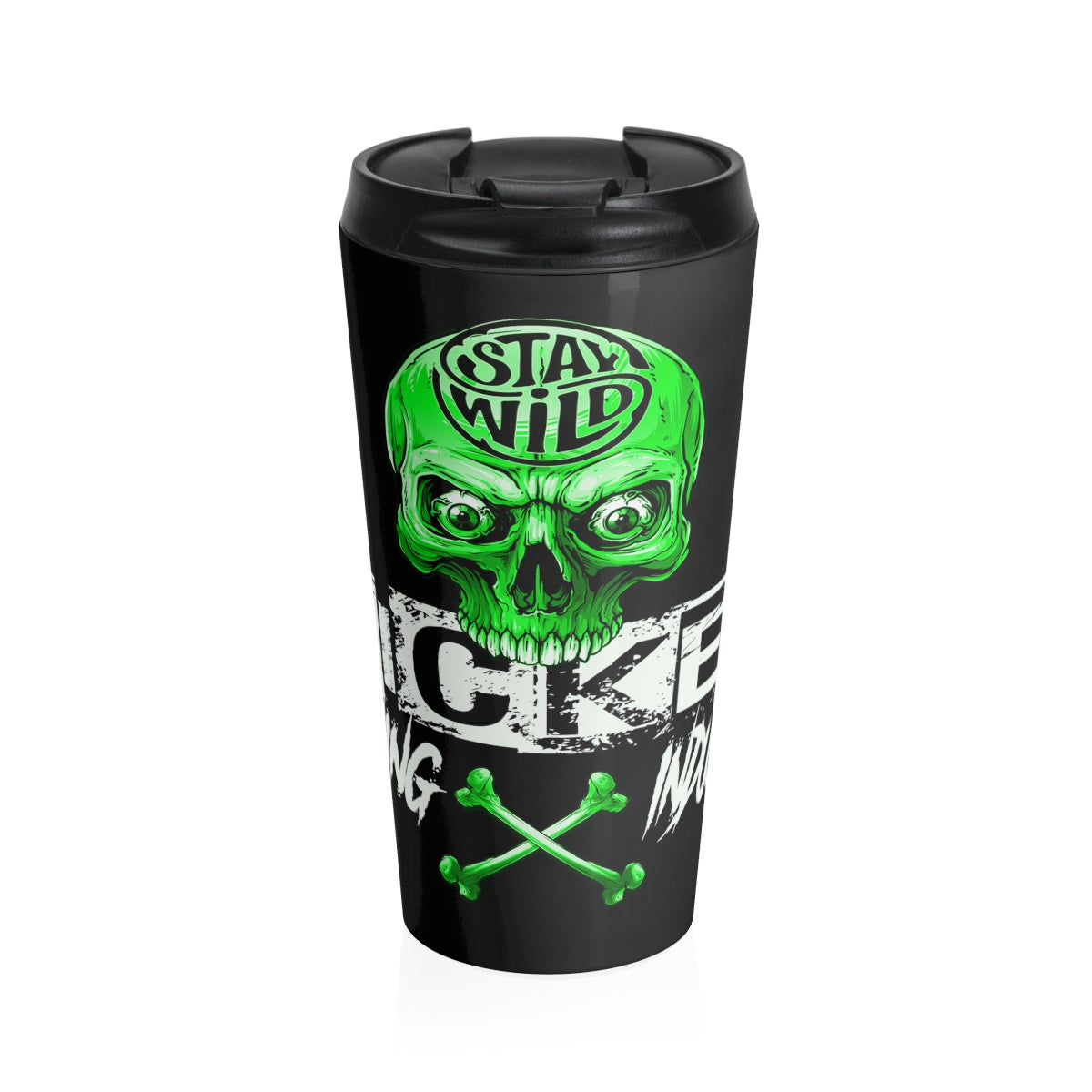 Stay Wild 2/Black/Neon Green/Stainless Steel Travel Mug