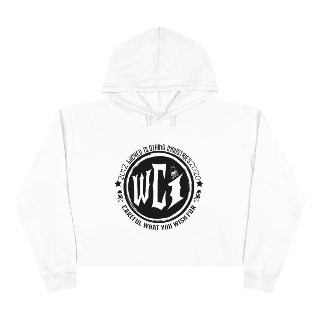 Careful What You Wish For / Black/ White Crop Hoodie