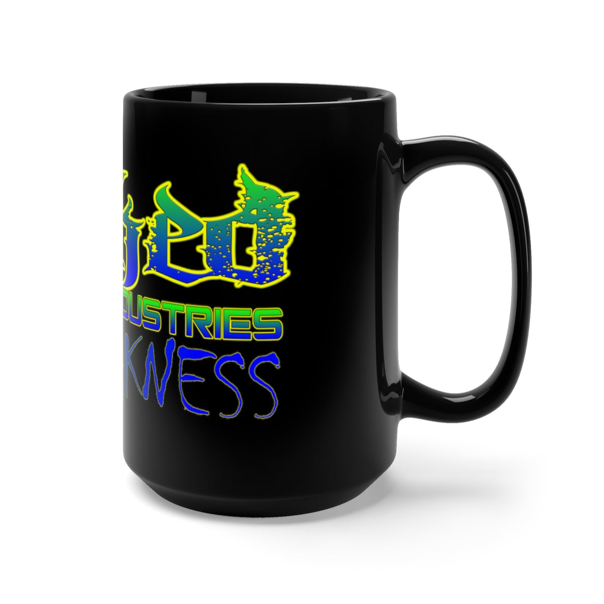 No Weakness Neon Green and Blue /Black Mug 15oz