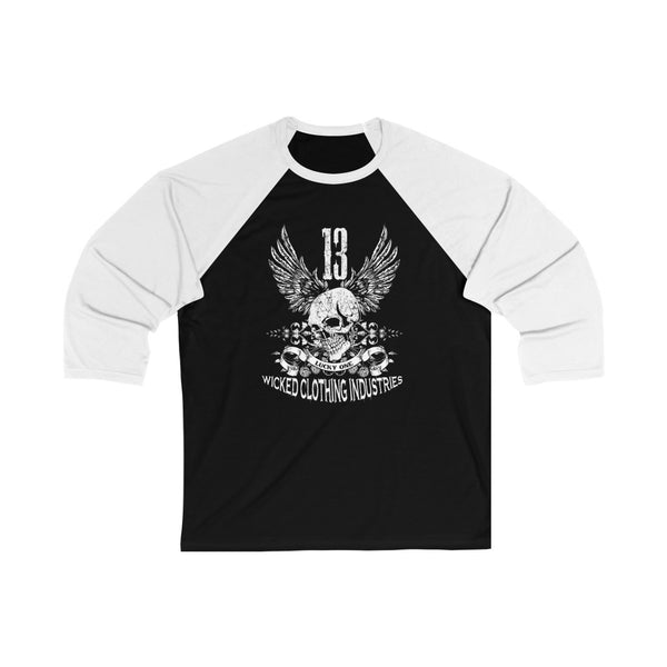 13 Lucky Day/ White/ Black Unisex 3/4 Sleeve Baseball Tee