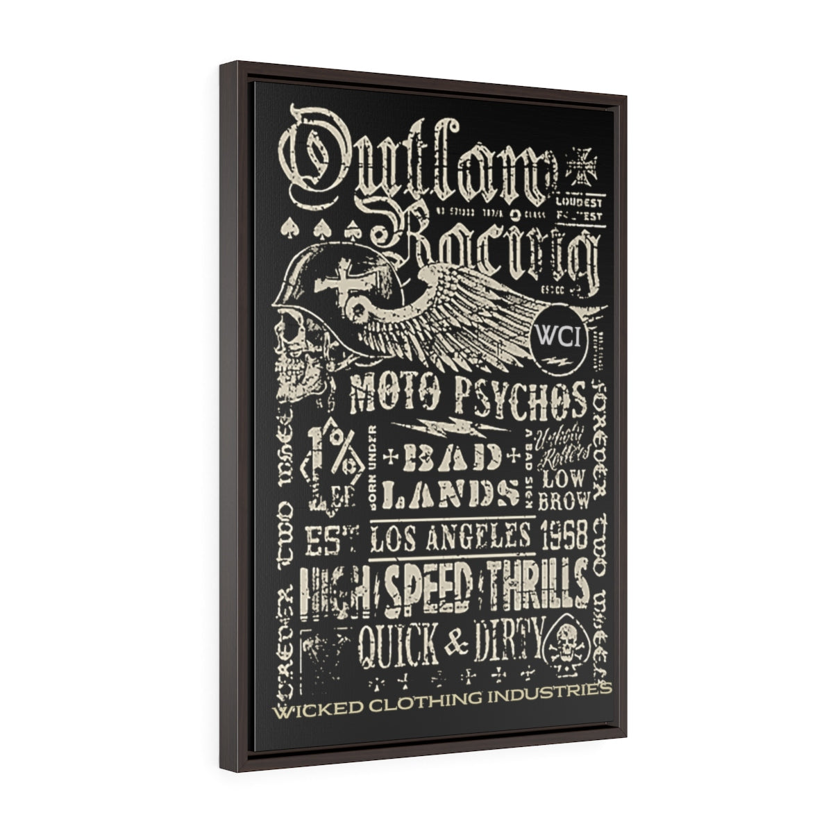 Outlaw Racing/ Faded White/Vertical Framed  Wrap Canvas